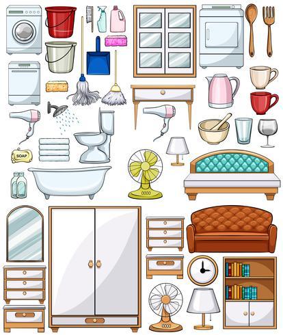 Diferentes equipamentos domésticos e móveis