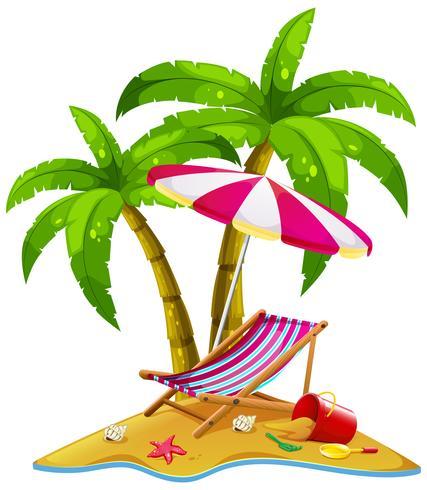 Isola con sedile e ombrellone