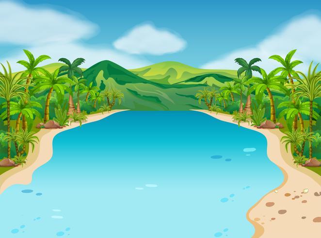 Scen med flod och kullar