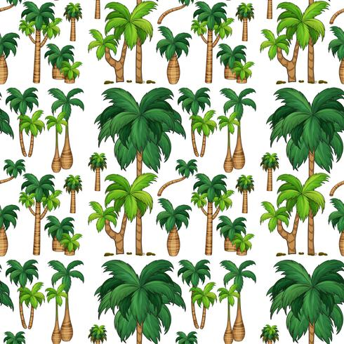Seamless background with palm trees vector