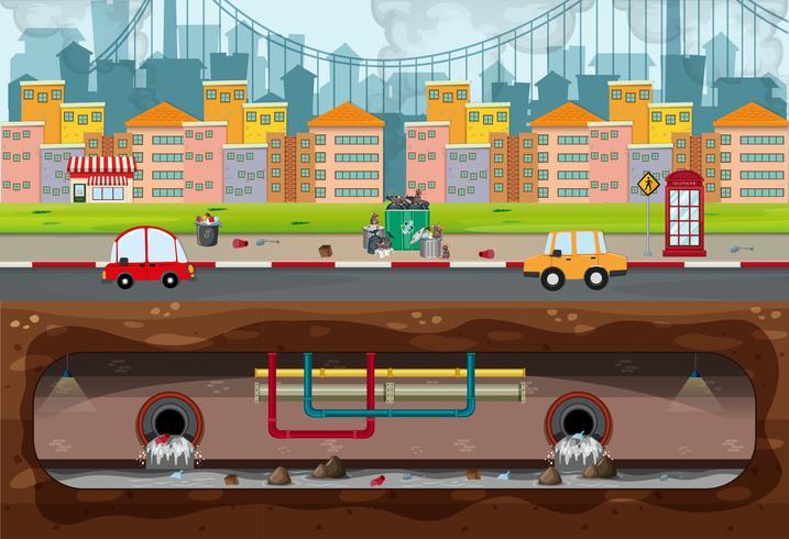Gran escena de la contaminación de la ciudad moderna