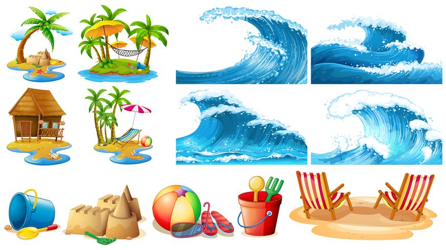 Summer theme with blue waves and islands