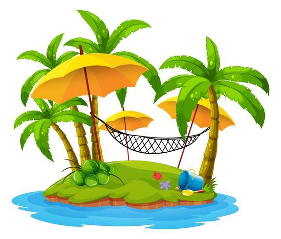 Kokospalmen en hangmat op eiland