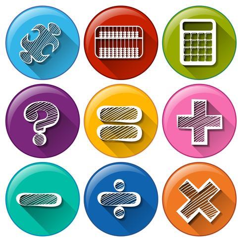Botões redondos com os diferentes símbolos matemáticos
