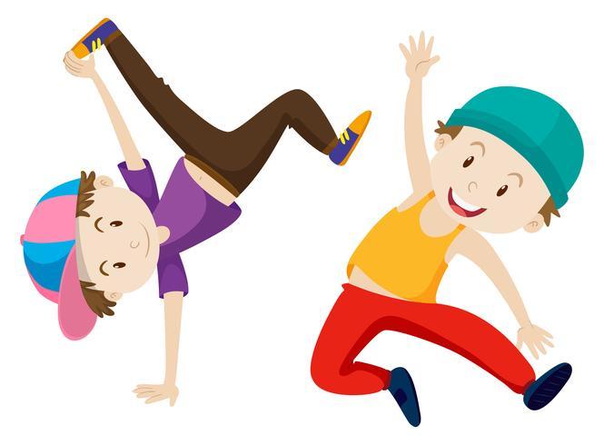 Två pojkar gör breakdance
