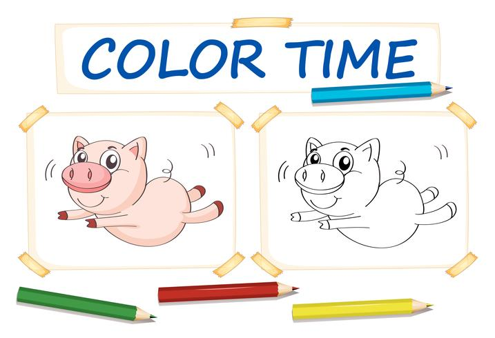 Coloring template with cute pig - Download Free Vector Art, Stock ...