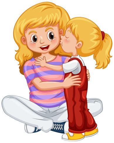 Bambina che bacia la madre