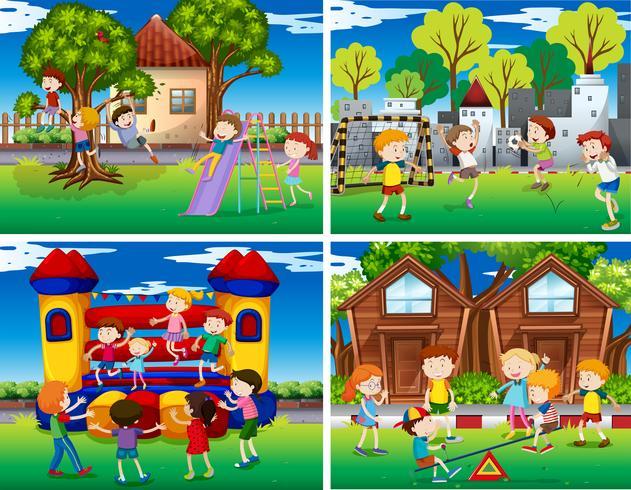Cuatro escenas de niños jugando en el parque.