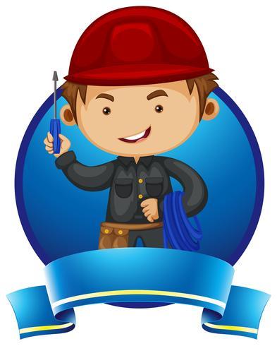 Logo design con riparatore e strumenti