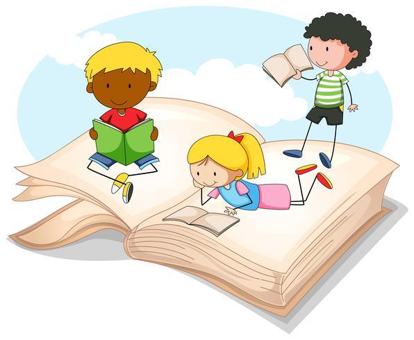 Tre bambini che leggono il libro di fiabe - Scarica Immagini Vettoriali Gratis, Grafica Vettoriale, e Disegno Modelli