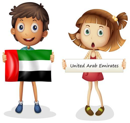 Jungen und Mädchen mit Flagge der Vereinigten Arabischen Emirate