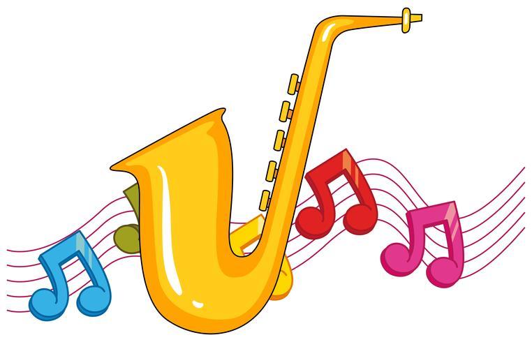 Saxofón con notas musicales en el fondo.