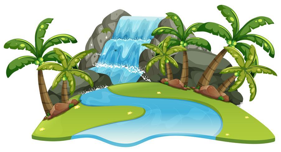 Cena, com, cachoeira, e, rio