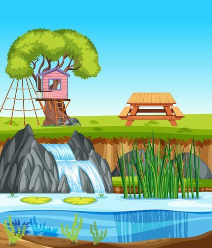 Een natuurlandschap van een boomhut