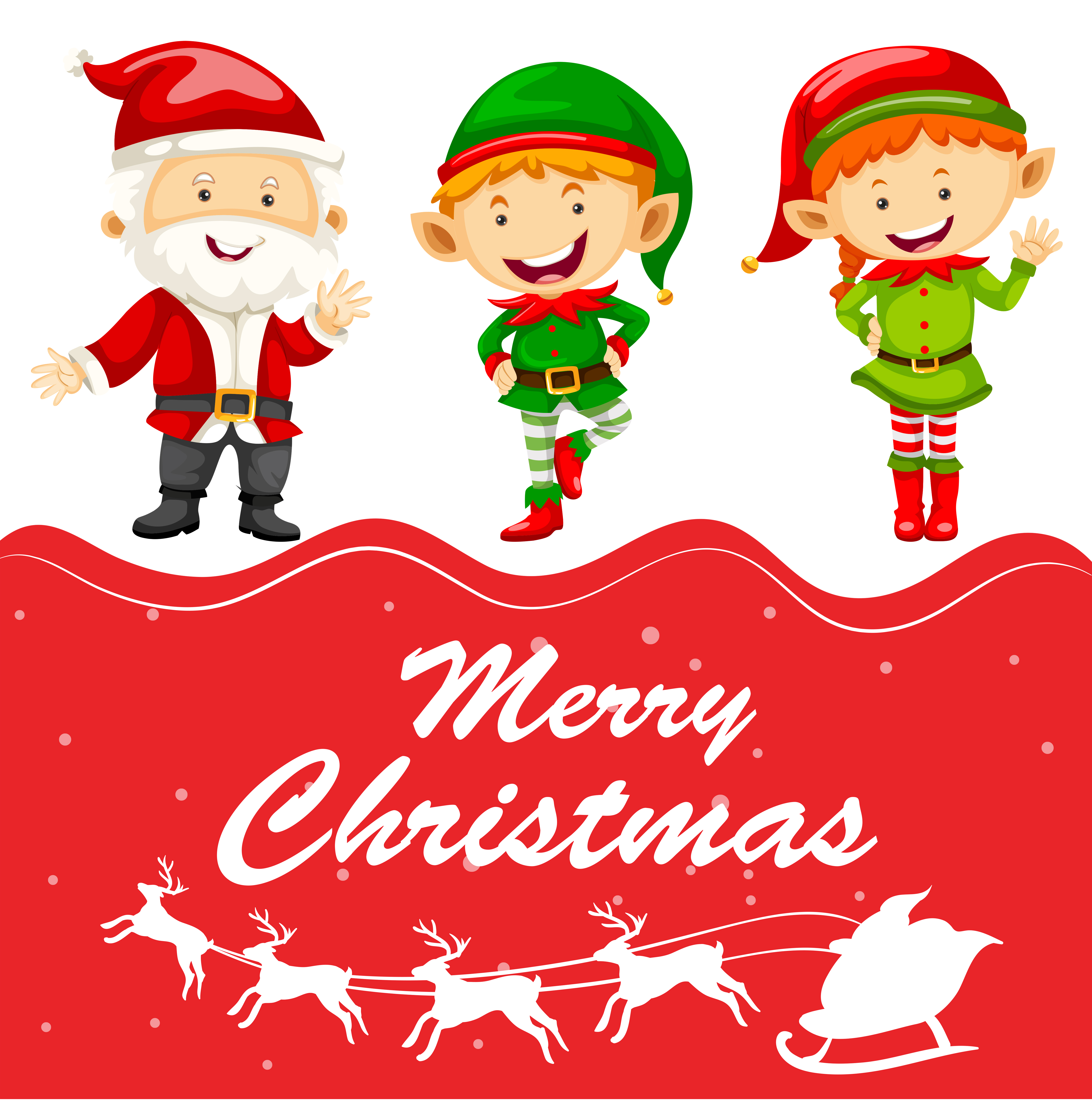 christmas card template with santa and elf 446950 vector