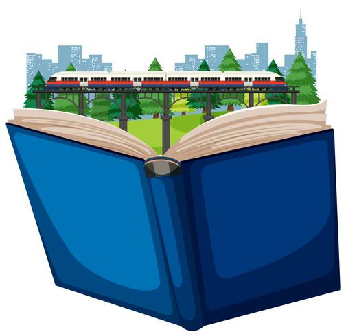 Open book rain transportation vector