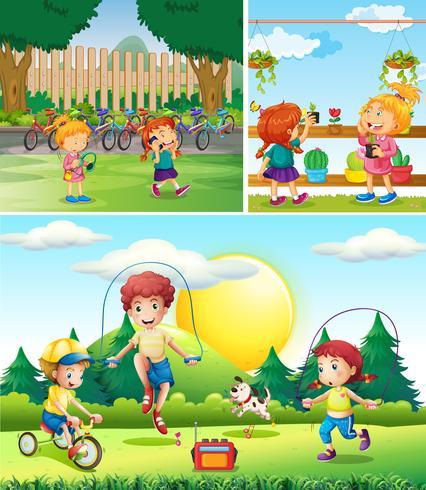 Scen med barn som leker i trädgården vektor