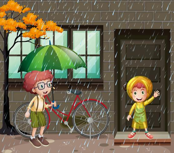Temporada de lluvias con dos niños bajo la lluvia.
