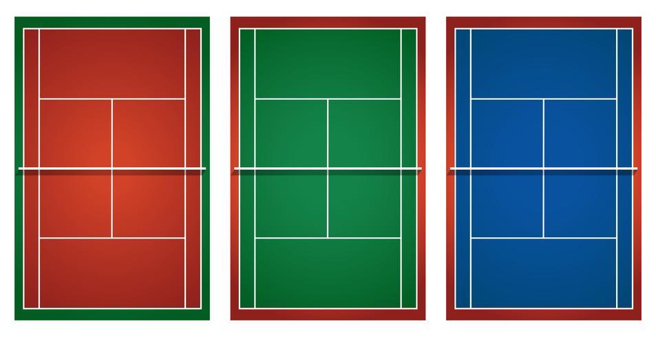 Drei verschiedene Tennisplätze