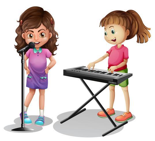 Mädchen singen und Mädchen, das elektronisches Klavier spielt