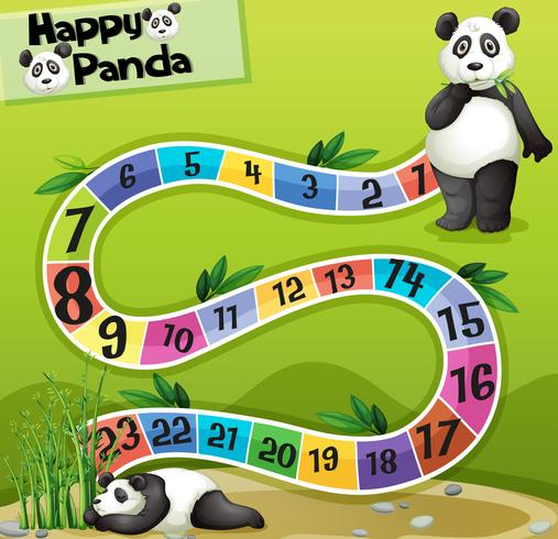 Boardgame template with two pandas in park