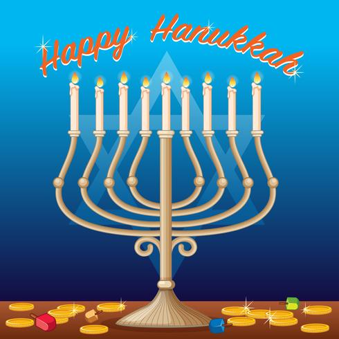 Modelo de cartão de feliz Hanukkah com luzes e moedas