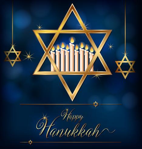 Feliz plantilla de tarjeta de Hannukkah con símbolos judíos
