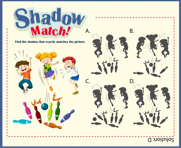 Game template for shadow matching with bowling