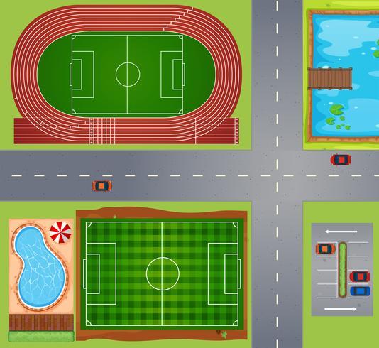 Sportfält och domstolar