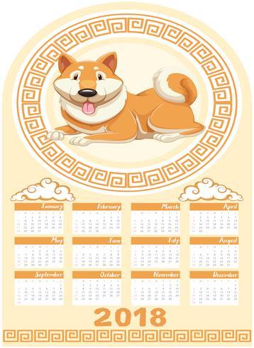 Plantilla de calendario con perro año 2018