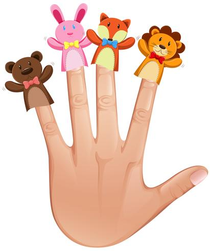 Animal finger puppets on human hand
