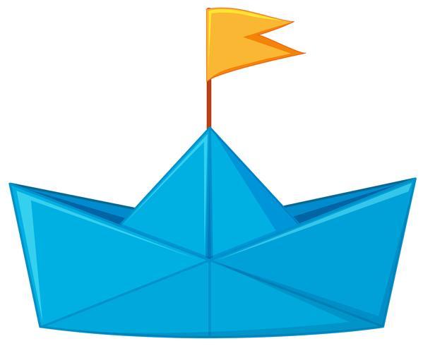 Barco de papel azul con bandera amarilla