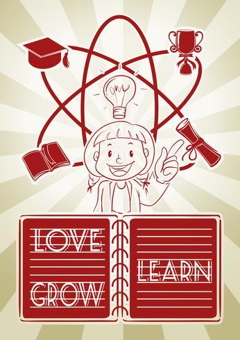 Chica y diagrama de aprendizaje