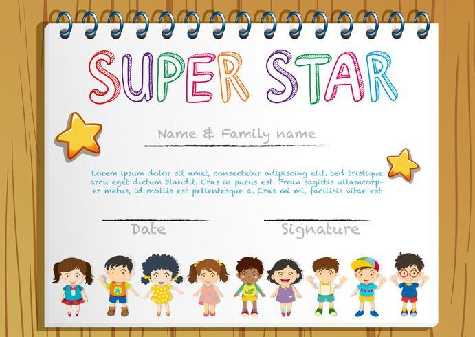 Modèle de certificat pour super star