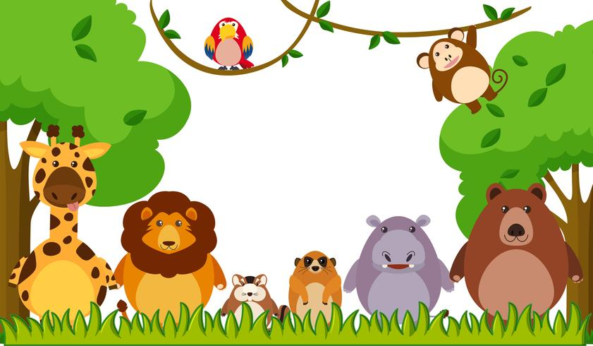Bakgrundsmall med vilda djur i parken vektor