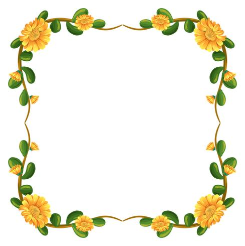 A floral border with yellow flowers