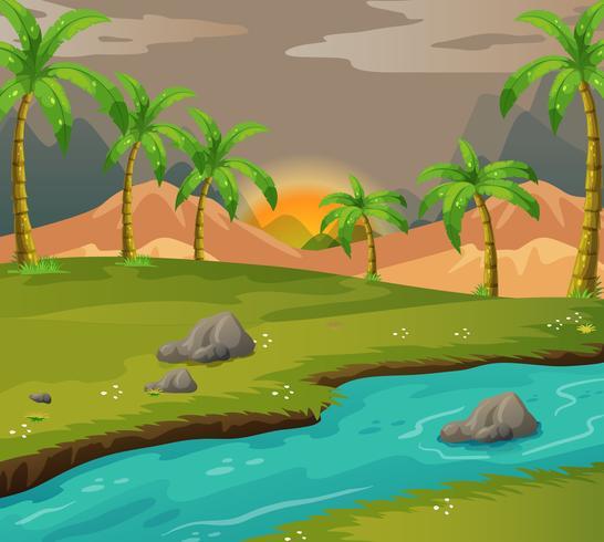 Escena con árboles de coco a lo largo del río