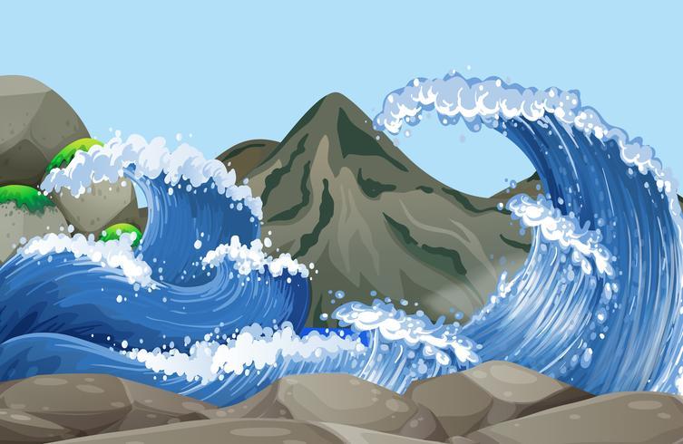 Cena oceano, com, grande, ondas, ligado, pedras