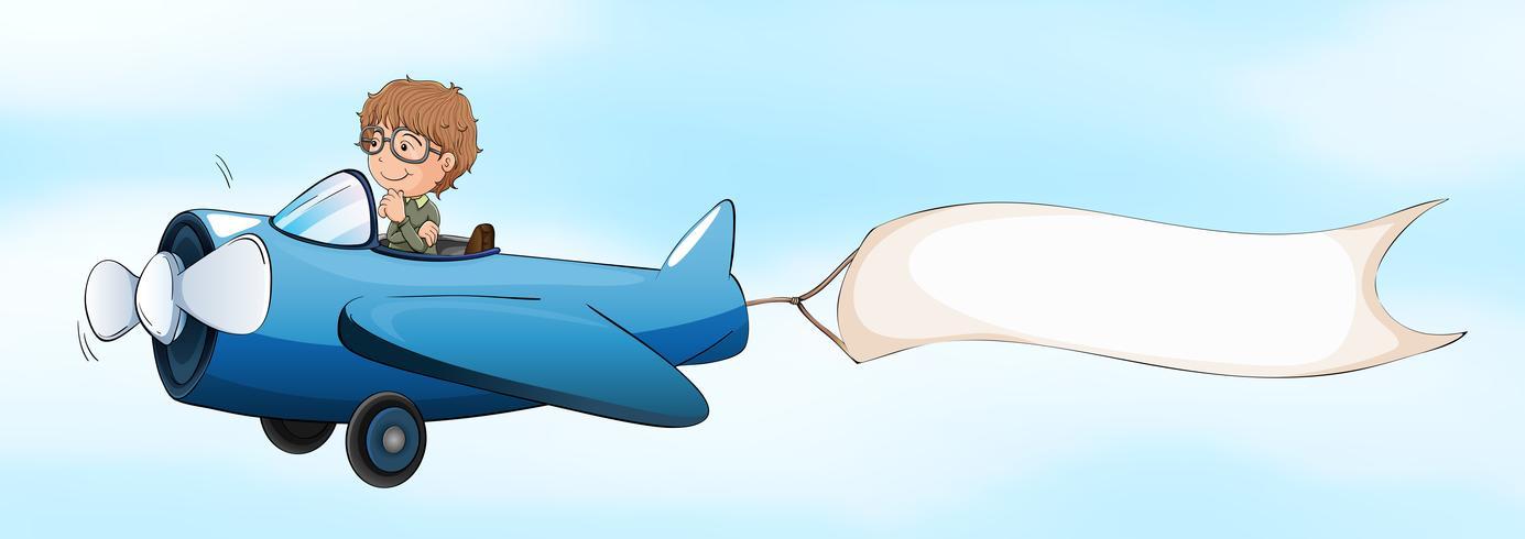 Piloto volando en avioneta con bandera blanca. vector
