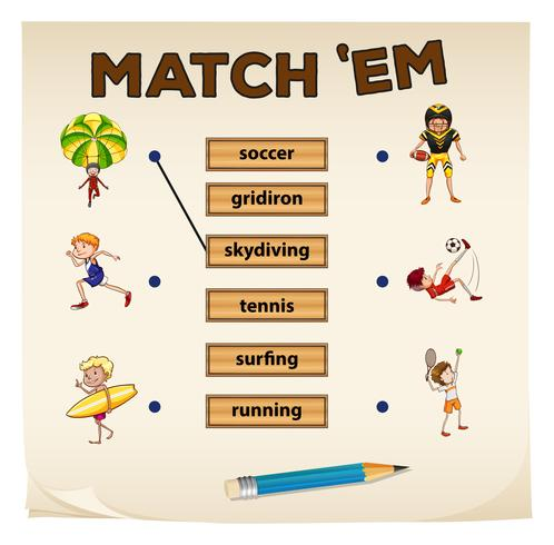 Matching game with sport and people