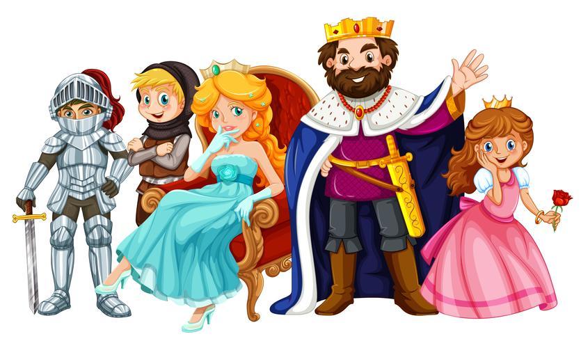 Personagens de conto de fadas com rei e rainha
