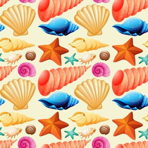 Nahtloser Hintergrund mit Muscheln und Starfish