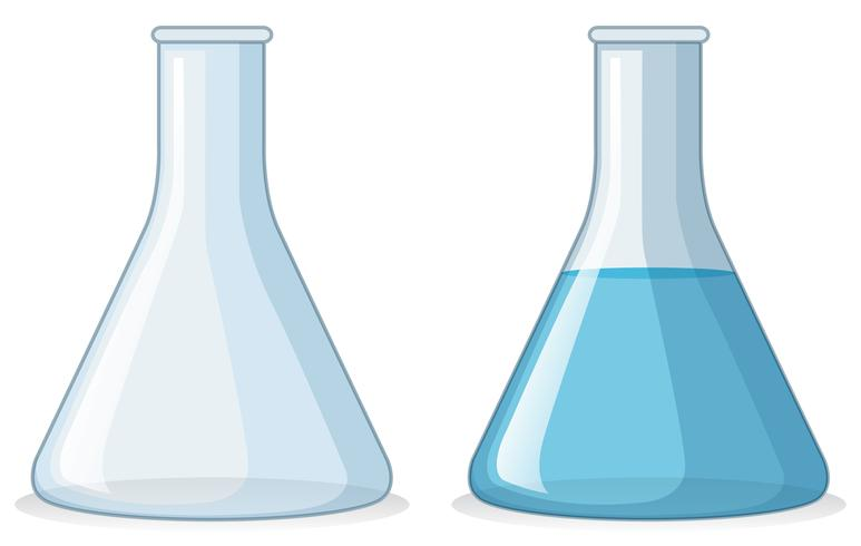 Two beakers with and without water