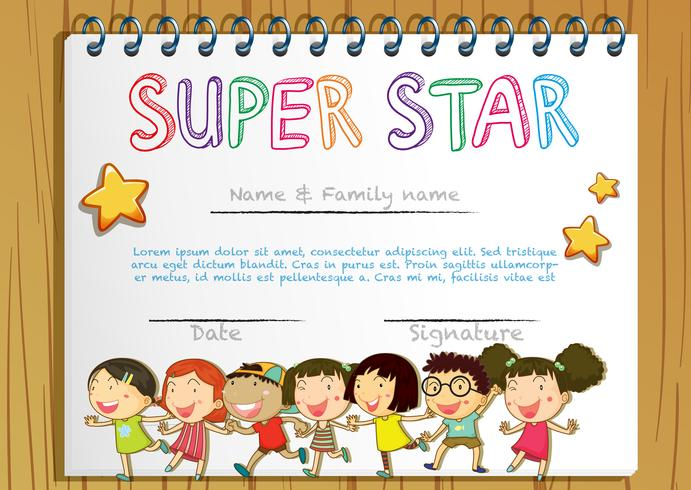 Super star award template with children in background
