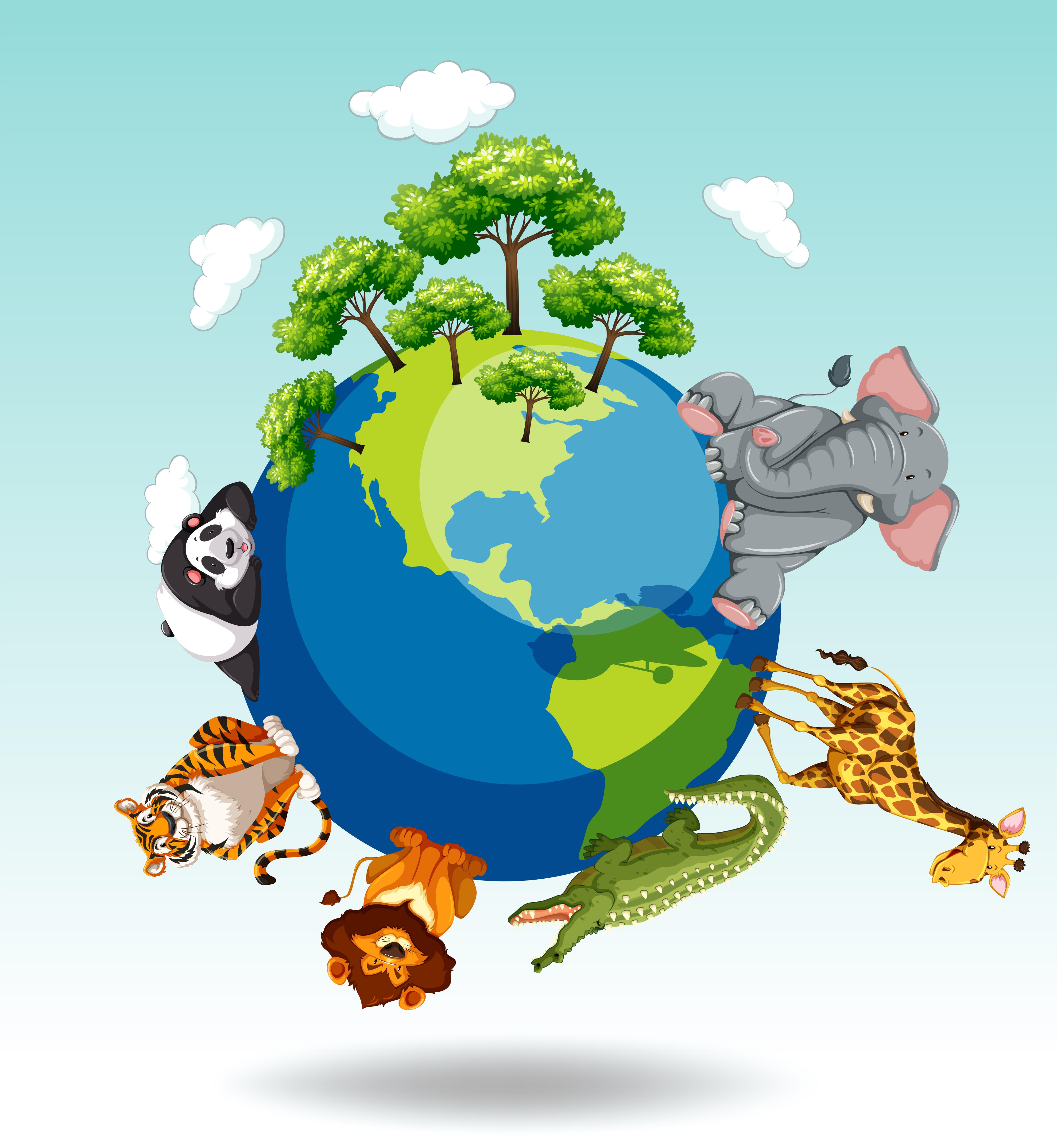 Wild Animals Around The World 447122 Vector Art At Vecteezy