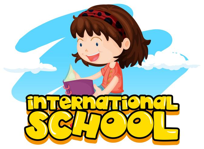 Escola internacional, sinal, com, menina, livro leitura