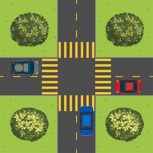 Luchtfoto van auto's op kruising