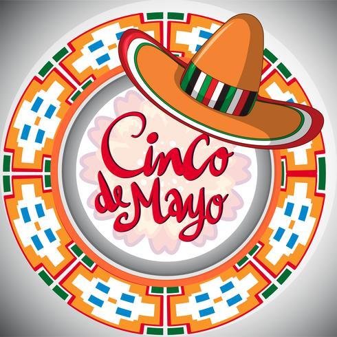 Diseño de Cinco de Mayo con sombrero mexicano.