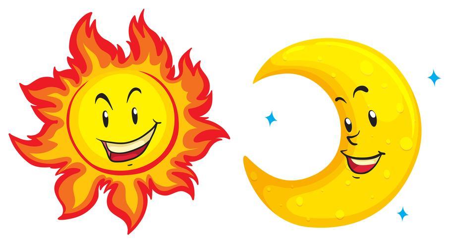 Sol y luna con cara feliz.