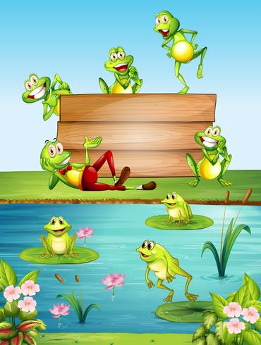 Panneau en bois avec beaucoup de grenouilles près de l'étang